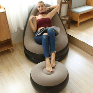 Inflatable Large Bean Bag Couch Chair Sofa Lazy Lounger Home Comfy With Footrest