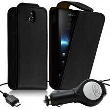 Housse Coque Etui pour Sony Xperia U + chargeur auto Couleur Noir
