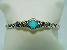 JAI Serling Silver & Turquoise Bangle Size Small 6-6 1/2""