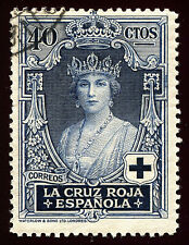 ESPAÑA 1926. Pro Cruz Roja Española. 40 céntimos azul. Usado. Edifil 333.