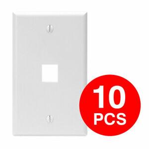1 port Hole Keystone Jack Wall Plate -White (Pack of 10)