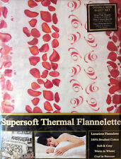 DOUBLE BED FLANNELETTE SHEET SET OFF CREAM RED WINE PETALS BRUSHED COTTON