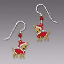 Sienna Sky CHIHUAHUA w/ Red Sweater & Santa Hat EARRINGS Sterling Christmas Dog
