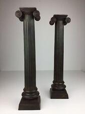 Alte Bronze Kerzenständer Leuchter Beisteller Römische Ionische Säule Akanthus