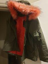 WOMENS Pink FAUX FUR HOODED  WARM  FABULOUS FLEECED LINED PARKA  COAT  SIZE 14