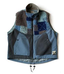 Kapital Men's 60/40 Cloth TUNAGI Fleece Hutte Vest Navy From Japan New