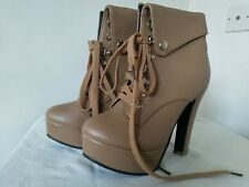 LADIES BROWN LEATHER ANKLE BOOTS LACE UP PLATFORM SOLE HIGH HEEL STUDS SIZE 6.5""