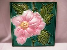 Antique Tile Ceramic Porcelain Majolica Pink Flower High Embossed Collectib *508