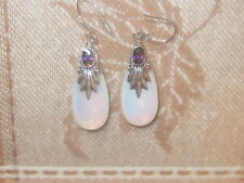 FACETED AMETHYST SEA OPAL 925 STERLING SILVER OPALITE PENDANT CHARM EARRINGS