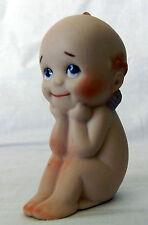 Cute Vintage Rose O'Neill Kewpie Doll W/ Blue Wings Also Signed Ej-84 Thinker