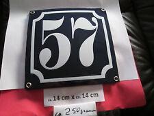 Hausnummer Emaille Nr. 57 weisse Zahl auf blauem Hintergrund 14 cm x 14 cm .....
