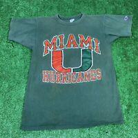 Vintage 80's Champion Miami Hurricanes Green Single Stitch Graphic T Shirt Med