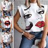 Damen Freizeit Urlaub Tee Hemd Kurzarm Bluse Lippe Sweatshirt Oberteile T-Shirts