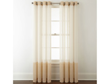 """JCPenney Bayview Colorblock Grommet Sheer Curtain Panel 50"""" x 84"""" Ivory / Linen"""