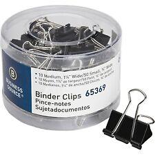 Business Source 65369 Small/Medium Binder Clips Set, 60/Pack - Black