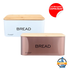 Stainless Steel Bread Bin Kitchen Loaf Storage Box + Bamboo Lid Chopping Board