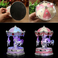 LED Horse Carousel Music Box Light Clockwork Romantic Wedding Gift Xmas Kids Toy