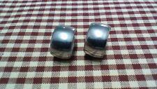 Vintage Silver Metal Screw Hoop Earrings