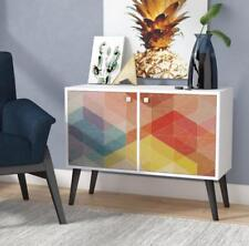 Modern Double Cabinet Accent Rainbow Color Print Melamine Laminated Wood