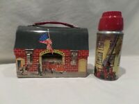 "VINTAGE 1959 DOME ""CENTRAL STATION"" FIREHOUSE METAL LUNCHBOX WITH MATCHING THERM"
