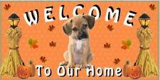 "Fall Season Puggle 10"" x 5"" Wooden Welcome Dog Sign (#94992jw)"
