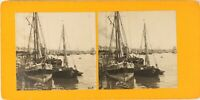 FRANCE Bordeaux Les Quais Louis XVIII, Photo Stereo Vintage Argentique PL62L10