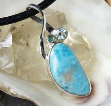 Groß 5 cm Kettenanhänger Schlicht Blau Türkis Silber Larimar Blautopas Aquamarin