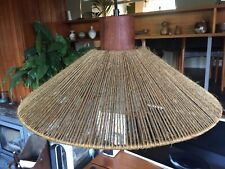 Vintage 1970s Danish Rise and Fall Lamp Teak Fittings with String Shade