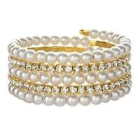 Women Pearl Crystal Rhinestone Stretch Bracelet Bangle Wristband Wedding Jewelry