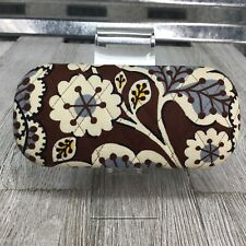Vera Bradley Sunglasses Hard Case Holder Vintage Brown Flower Blue Ivory