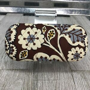 Vera Bradley Sunglasses Hard Case Holder Vintage Brown Flower Blue Ivory