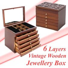 US Jewelry Cabinet Armoire Storage Wood Box Chest Stand Organizer Christmas Gift