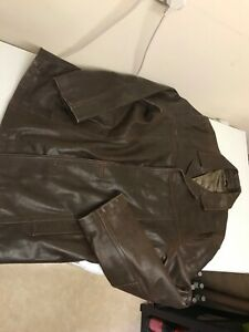 Men's brown leather jacket, NEXT, size XL, used look