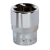"SP1414 Sealey WallDrive® Socket 14mm 1/4""Sq Drive Fully Polished"