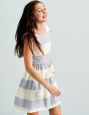 Boden. Girls Textured Stripe Dress. Age 16+. Ecru / Blue (372)