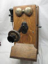 VINTAGE OAK RINGER WALL TELEPHONE KELLOGG MODERNIZED ROTARY PHONE