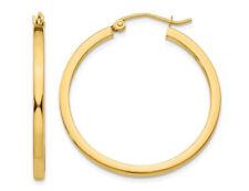 Medio aro Pendientes en Oro Amarillo 14K 1 pulgadas (2.00 Mm)