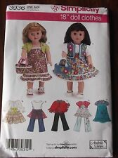 "DOLL CLOTHES SEWING PATTERNS S3936 FOR 18"" DOLLS DRESS BAG TOP BAG PANTS SHRUG"