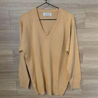 Ballantyne Made in Scotland Merino 2000 V Neck Sweater Sz L Tan Yellow