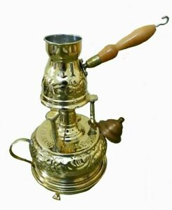 Brass alcohol burner with coffee pot