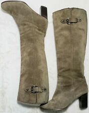 """MICHAEL KORS Tall Suede Leather Boots 3"""" Stacked Heel Women's Size 8"""