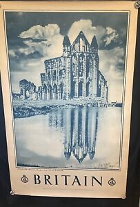 """Original 1940's Britain England Between Heather & Sea at WHITBY Poster 40"""" X 25"""""""