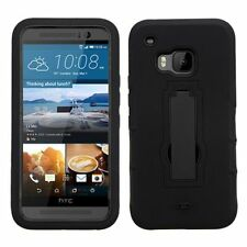 For HTC One M9 Black Symbiosis Silicone Hard Hybrid Rubber Case Cover w/stand