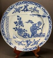 """Antique 18th C. Chinese Blue N White Porcelain Plate Kangxi Period 10.50"""" Width"""