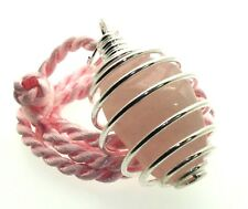 Rose Quartz Gemstone Crystal Spiral Pendant