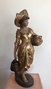 """E. TELL, GOLDSCHEIDER  """"La porteuse d'eau"""" terre cuite Art-nouveau, Jugendstil"""