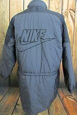 Mens Vintage Nike Puffer Parka Raincoat Jacket With Hood Swoosh Logo Size Large