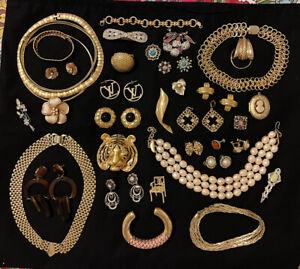 Fabulous Vintage Gold Plated Rhinestones Pins Necklaces Pendants Earrings