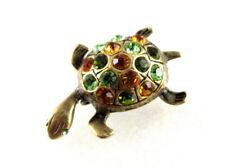 Vintage Rhinestone Turtle Brooch Pin