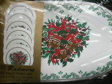 CHRISTMAS 12pc TABLE SET - 6 Placemats & 6 Coasters - RADMORE - NEW